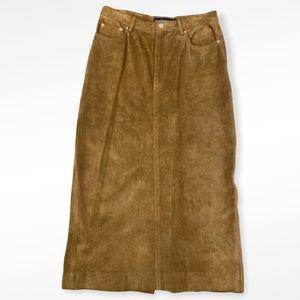 VTG Ralph Lauren Tan Suede Long Back Slit Skirt
